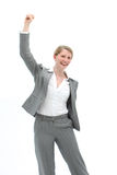 Motivated woman cheering Stock Image