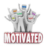 Motivated Word People Workers Cheering Excited Inspired. Motivated 3d words and people cheering as they are inspired, encouraged or excited to act and achieve Royalty Free Stock Images