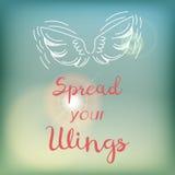 Motivatiekaart of affiche met heldere blauwe hemel en gloed, het roze van letters voorzien en witte vleugelskrabbel Royalty-vrije Stock Foto