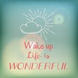 Motivatiekaart of affiche met heldere blauwe hemel en gloed, het roze van letters voorzien en witte zon en wolkenkrabbel Stock Fotografie