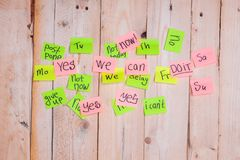 Motivating phrases like Now, can do it, Yes, on sticky notes. Motivating phrases like Now, can do it, Yes, on colour sticky notes above demotivating text like I Royalty Free Stock Image