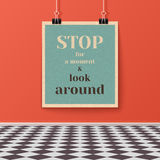 Motivating Poster on the Wall in the Room with Tiled Floor Stock Image