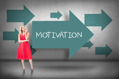 Motivation against blue arrows pointing Royalty Free Stock Photo