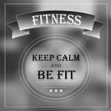 Motivation banner keep calm and be fit Royalty Free Stock Photos