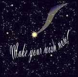 Motivation banner Make your wish now on starry night sky Royalty Free Stock Image