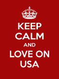 Motivation blanc rouge rectangulaire verticale l'amour sur l'affiche des Etats-Unis basée dans le rétro style de vintage Photo stock