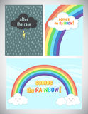 Motivation, cheer up card design with rain and rainbow Stock Images