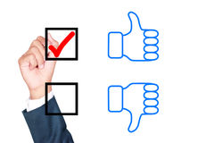 Motivation choose thumb up solution for success Royalty Free Stock Photos