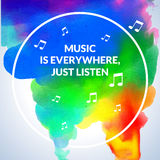 Motivation Circle watercolor stroke poster background Music is everywhere, just listen.  Royalty Free Stock Image