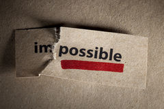 Motivation concept. Word impossible transformed into possible. Motivation philosophy concept