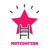 Motivation concept career ladder star icon business strategy development design and management leadership idea. Creativity office training vector. Outline Stock Photography