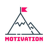 Motivation concept flag on mountain top icon business strategy development design and management leadership teamwork Royalty Free Stock Photos