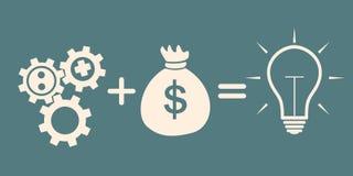 Motivation concept. gears plus money = idea Stock Image