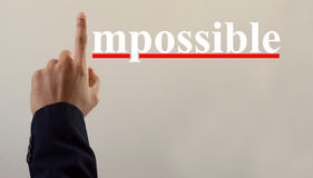 Motivation concept, man hand impossible Stock Image