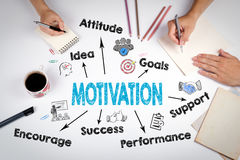 Motivation Concept. The meeting at the white office table Royalty Free Stock Images
