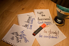 Motivation de carnet et d'écriture Image stock