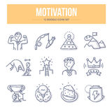 Motivation Doodle Icons. Doodle  line icons of business and personal motivation, productivity and success Royalty Free Stock Photo