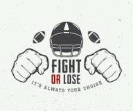 Motivation för amerikansk fotboll eller rugbymed rodern, nävar och bollen stock illustrationer