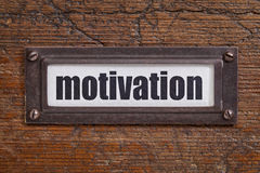 Motivation - file cabinet label Royalty Free Stock Images