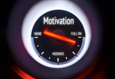 Motivation. A gauge showing full on motivation concept Stock Photography