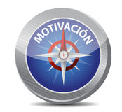 Motivation Glossy Compass in Spanish Stock Image