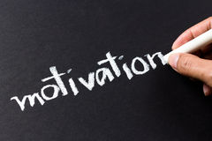 Motivation. Hand writing Motivation word with chalk Royalty Free Stock Photos