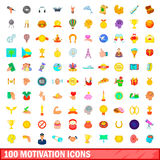 100 motivation icons set, cartoon style Stock Photo