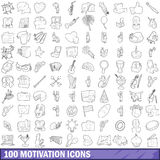 100 motivation icons set, outline style Stock Photos