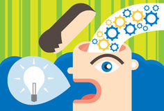 Motivation and Ideas. Motivating ideas pouring into the brain and forming ideas Stock Photos