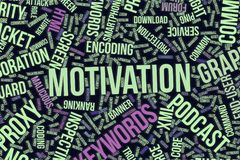 Motivation, conceptual word cloud for business, information technology or IT. Motivation, IT, information technology conceptual word cloud for for design Royalty Free Stock Images