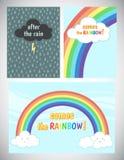 Motivation, jubeln oben Kartendesign mit Regen und Regenbogen zu Stockbilder