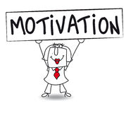 Motivation with Karen. Karen holds a placard on which there wrote MOTIVATION. Concept of a thing that motivates or encourages one to do something Royalty Free Stock Images