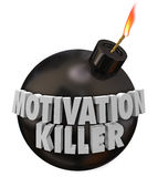 Motivation Killer Round Bomb Discouragement Bad Morale. Motivation Killer 3d words on a round black bomb to illustrate discouragement and bad morale Royalty Free Stock Images