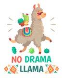 Motivation lettering with No drama llama. Chilling alpaca or lama cartoon kids illustration