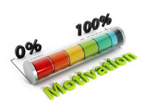 Motivation meter. Indicating near 100 percent isolated on white Stock Photos