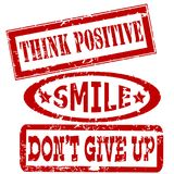 Motivation and positive thinking messages rubber stamps. Set Royalty Free Stock Photo