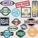 Motivation and positive thinking messages rubber stamps set Royalty Free Stock Image
