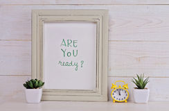 Motivation poster Are you ready? Scandinavian or American shabby chic style. Hipster Home interior decoration Stock Photos
