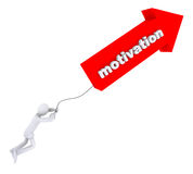 Motivation pulls a man. Motivation word on red arrow pulls a man stock illustration