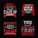 Motivation Quote and Saying Set for Graphic Goods, good for print. Motivation Quote and Saying Set for Graphic Goods royalty free illustration