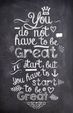 Motivation Quote written with chalk on a black board royalty free stock photos