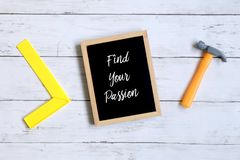 Motivation quotes Find Your Passion on a blackboard. Business and finance concept. Motivation quotes Find Your Passion on a blackboard. Business and finance royalty free stock image