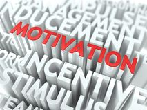 Motivation - Red Text on White Wordcloud. Stock Images