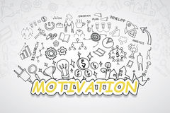 Motivation text, With creative drawing charts and graphs business success strategy plan idea, Inspiration concept modern design te. Mplate workflow layout Royalty Free Stock Images