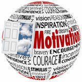 Motivation Word Globe Open Door Opportunity Achieve Inspiration. Motivation words in a collage on a globe or sphere with open door to clear sky of opportunity to Stock Image