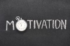 Motivation word watch. Motivation word handwritten on chalkboard with vintage precise stopwatch used instead of O Royalty Free Stock Photography