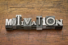 Motivation word in metal type Royalty Free Stock Photos