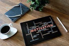 Motivation words cloud on the device screen. Motivation words cloud on the device screen royalty free stock photo