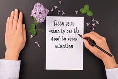 Motivation words Train your mind to see the good in every situation.Inspirational quotation. Success, Self development, Grow, Life Royalty Free Stock Photo