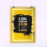Motivationaffärscitationstecknet ett mål utan ett plan är precis en önskaaffisch Designbegrepp på papper med mörk fläck Royaltyfri Foto